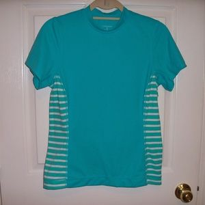 Lands End teal striped rash guard small 6/8